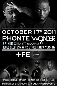 Phonte & 9th Wonder at B.B. King's Blues Club, New York NY | Oct 17, 2011