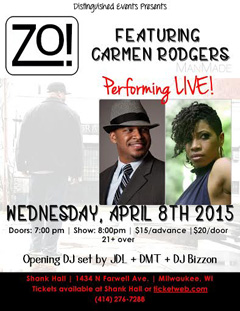 Zo! + Carmen Rodgers at Shank Hall, Milwaukee WI | Apr 8, 2015