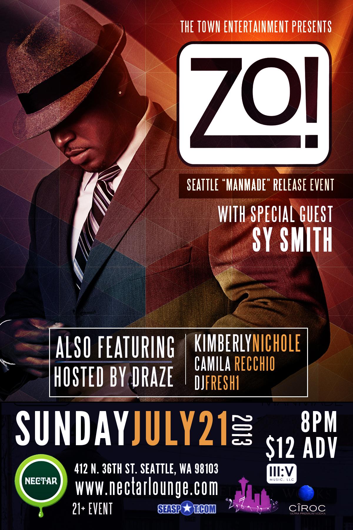 Zo! feat  Sy Smith at Nectar Lounge, Seattle WA   Jul 21, 2013