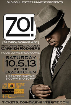 Zo! feat. Carmen Rodgers at The Jazz Kitchen, Indianapolis IN | Oct 5 2013