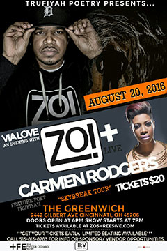 Zo! + Carmen Rodgers at The Greenwich, Cincinnati OH | Aug 20, 2016