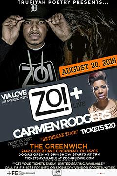 Zo! + Carmen Rodgers at The Greenwich, Cincinnati OH | Aug 20, 2016