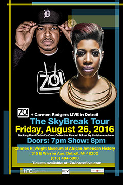 Zo! + Carmen Rodgers at Charles H. Wright Museum of African-American History, Detroit MI | Aug 26, 2016