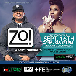 Zo! + Carmen Rodgers at The Canal Club, Richmond VA | Sept 16, 2016