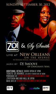 Zo! & Sy Smith at New Orleans On The Avenue, Indianapolis IN | Sept 30, 2012